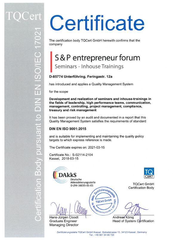 Zertifizierter Seminaranbieter